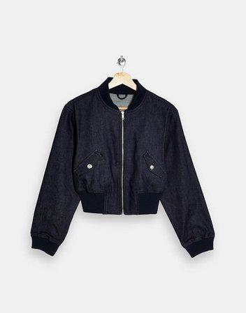Topshop set denim bomber jacket in indigo blue | ASOS