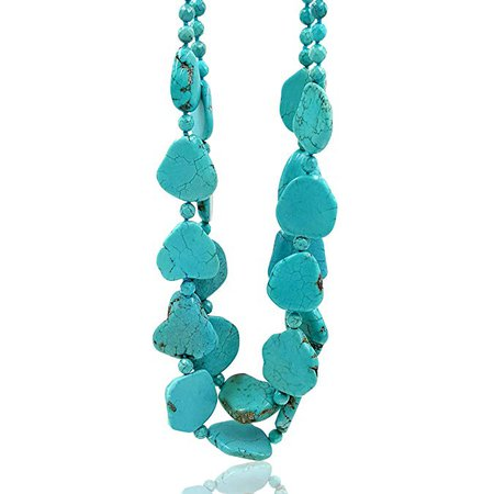 "Amazon.com: Lii Ji 26.5"" 2 Rows Irregular Shape Blue Simulated Turquoise Howlite Statement Long Necklace: Jewelry"