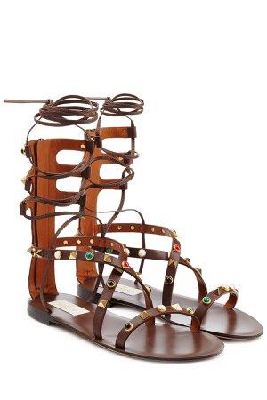Rolling Rockstud Embellished Leather Sandals Gr. IT 37.5