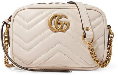 Gg Marmont Camera Mini Quilted Leather Shoulder Bag - White