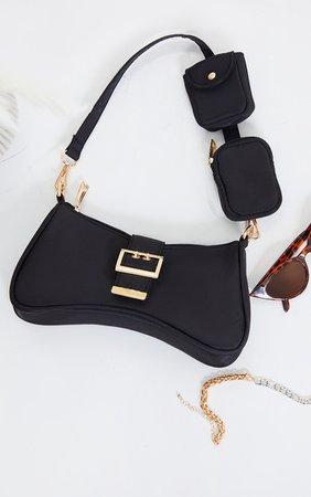 Black Nylon Multi Pocket Shoulder Bag | PrettyLittleThing USA