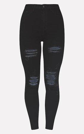 Plt Black Distressed 5 Pocket Skinny Jean | PrettyLittleThing