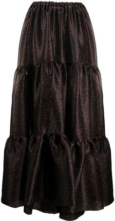 animal-print tiered maxi skirt
