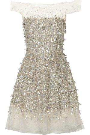Jenny Packham silver embellished tulle dress