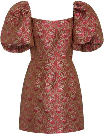 Markarian Puff Sleeve Brocade Mini Dress