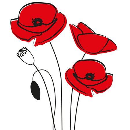 Red Poppy Line-Art