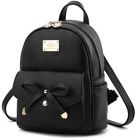 Amazon.com: Girls Black Mini Backpack Purse Leather Cute Bowknot Fashion Small Backpacks Purses for Teen Women: Clothing
