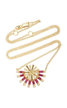 Carol Kauffmann Sunshine 18K Gold, Ruby and Diamond Necklace