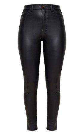Black Button Up Pu Skinny Pants   Pants   PrettyLittleThing USA