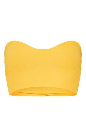 Orange Crepe Sweetheart Bandeau Crop Top   PrettyLittleThing USA
