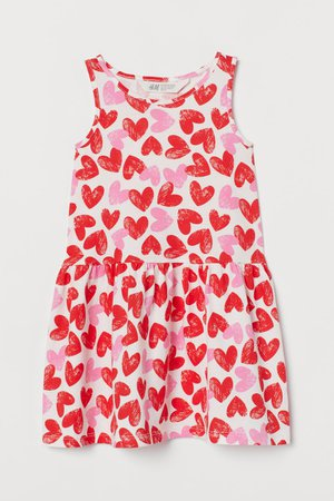 Patterned Jersey Dress - Natural white/hearts - Kids | H&M US