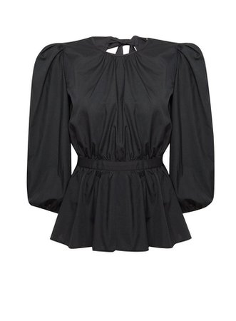Black Poplin Tie Back Blouse | Miss Selfridge