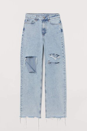 Loose Straight High Jeans - Blue
