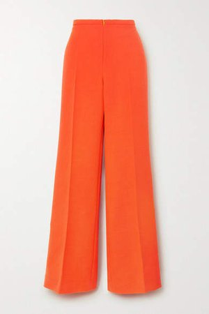 Wool Wide-leg Pants - Orange