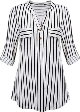 Cestyle Striped Blouses for Women, Ladies 3/4 Cuffed Sleeve Figure Flattering Flowy Tunic Tops 2018 Fashion V Neck Form Fitting Shirts Business Casual Clothes with Buttons Embellished Black and White L at Amazon Women's Clothing store