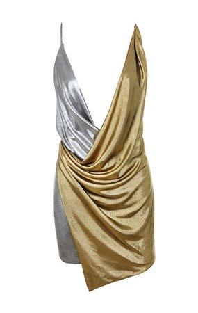 Clothing : Bodycon Dresses : 'Davina' Silver + Gold Duo Wrap Dress