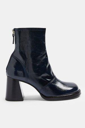MILO Blue Patent Leather Scoop Toe Boots   Topshop