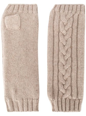 Pringle Of Scotland Fingerless cable-knit Gloves - Farfetch
