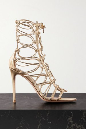 Gold 105 metallic leather sandals | Gianvito Rossi | NET-A-PORTER