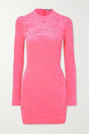 Stretch Crushed-velvet Mini Dress - Pink