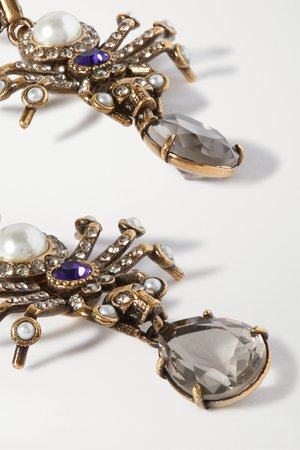 Gold Crystal, faux pearl and gold-tone earrings | ALEXANDER MCQUEEN