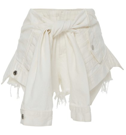 Tie-Detailed Frayed Denim Shorts