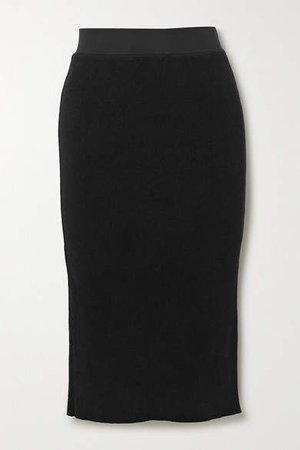 Ribbed Cotton-blend Midi Skirt - Black