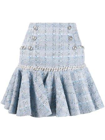 Balmain Flounced Tweed Skirt
