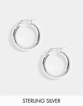 ASOS DESIGN sterling silver tube hoop earrings in 25mm | ASOS