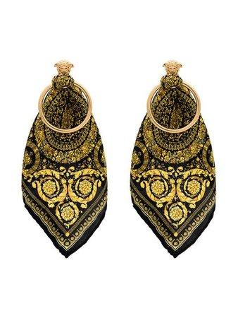 Versace metallic scarf detail hoop earrings $300 - Buy Online SS19 - Quick Shipping, Price
