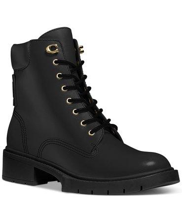 COACH Women's Lorimer Lace Up Combat Booties & Reviews - Boots - Shoes - Macy's