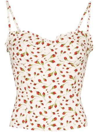 Reformation Finch Cropped floral-print Top
