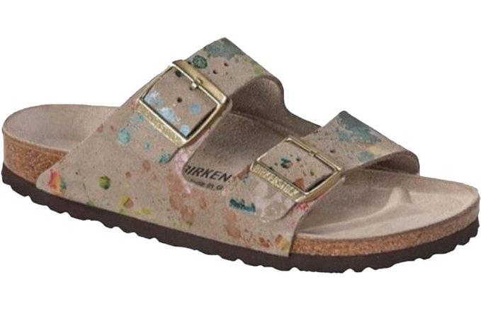 tan birkenstocks w/ paint splatter