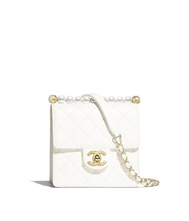 Flap Bag, lambskin, imitation pearls & gold metal, white - CHANEL