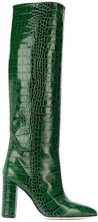 crocodile effect knee-high boots