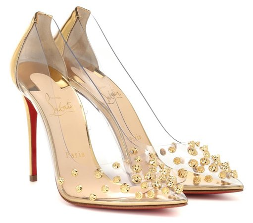 CHRISTIAN LOUBOUTIN Gold Embellished Collaclou 100 Heels