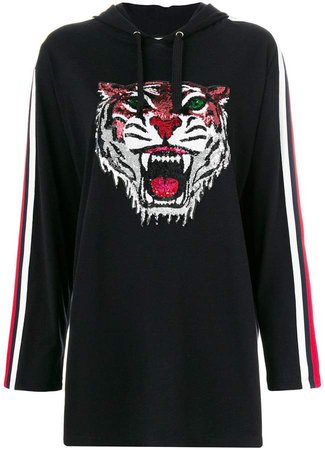 embellished tiger long length hoodie