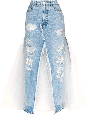 distressed panelled denim skirt