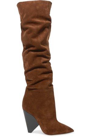 Saint Laurent | Niki suede over-the-knee boots | NET-A-PORTER.COM