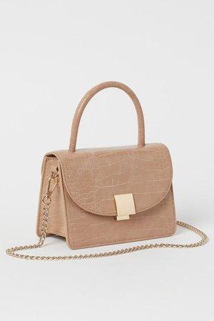 Handtas met krokodessin - Lichtbeige - DAMES | H&M BE