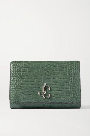 Varenne Croc-effect Leather Clutch - Green