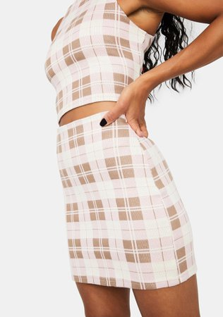 Plaid Print Bodycon Mini Skirt - Brown | Dolls Kill