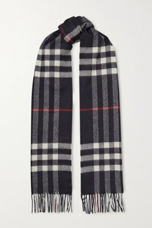 Navy Fringed checked cashmere scarf | Burberry | NET-A-PORTER
