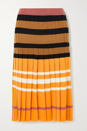 Pleated Striped Wool Skirt - Yellow