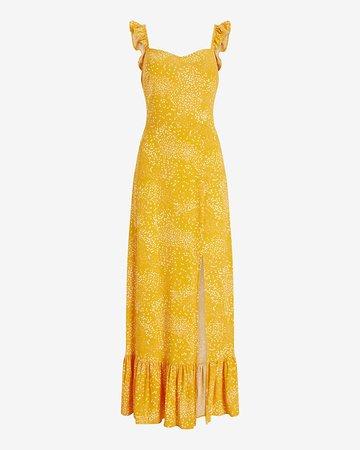Printed Ruffle Strap Smocked Back Maxi Dress | Express