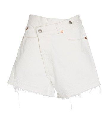 R13 | Crossover Distressed Denim Shorts | INTERMIX®