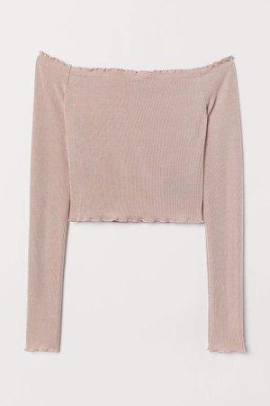 Short Off-the-shoulder Top - Pink