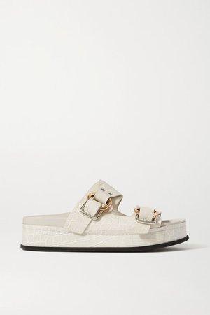 Space For Giants Freida Croc-effect Leather Platform Sandals - White