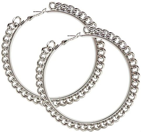 "Amazon.com: 3"" Chain Edge Hoops. Edgy Earrings!, in Silver Tone: Jewelry"