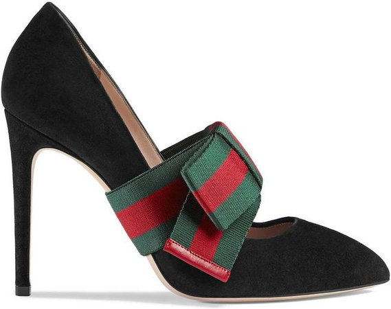 Suede pumps with removable Web bow